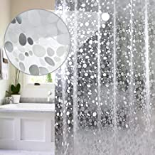EurCross PEVA Shower Curtain Liner 54x72inch, Vinyl Waterproof Semi Translucent Weighted Shower Liner with Magnets and 9 P...