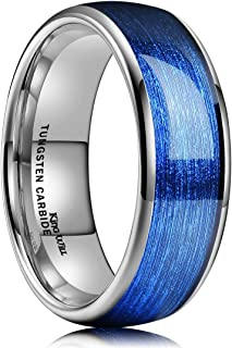 Men's 4mm/6mm/8mm Tungsten Carbide Ring Inlay Blue Silk Texture Paper Wedding Band Dome Style