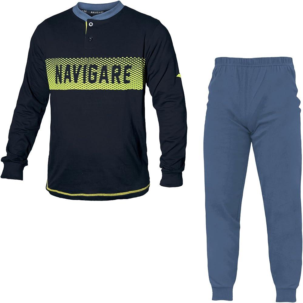 Navigare, pigiama per uomo,in  cotone jersey 140865 P