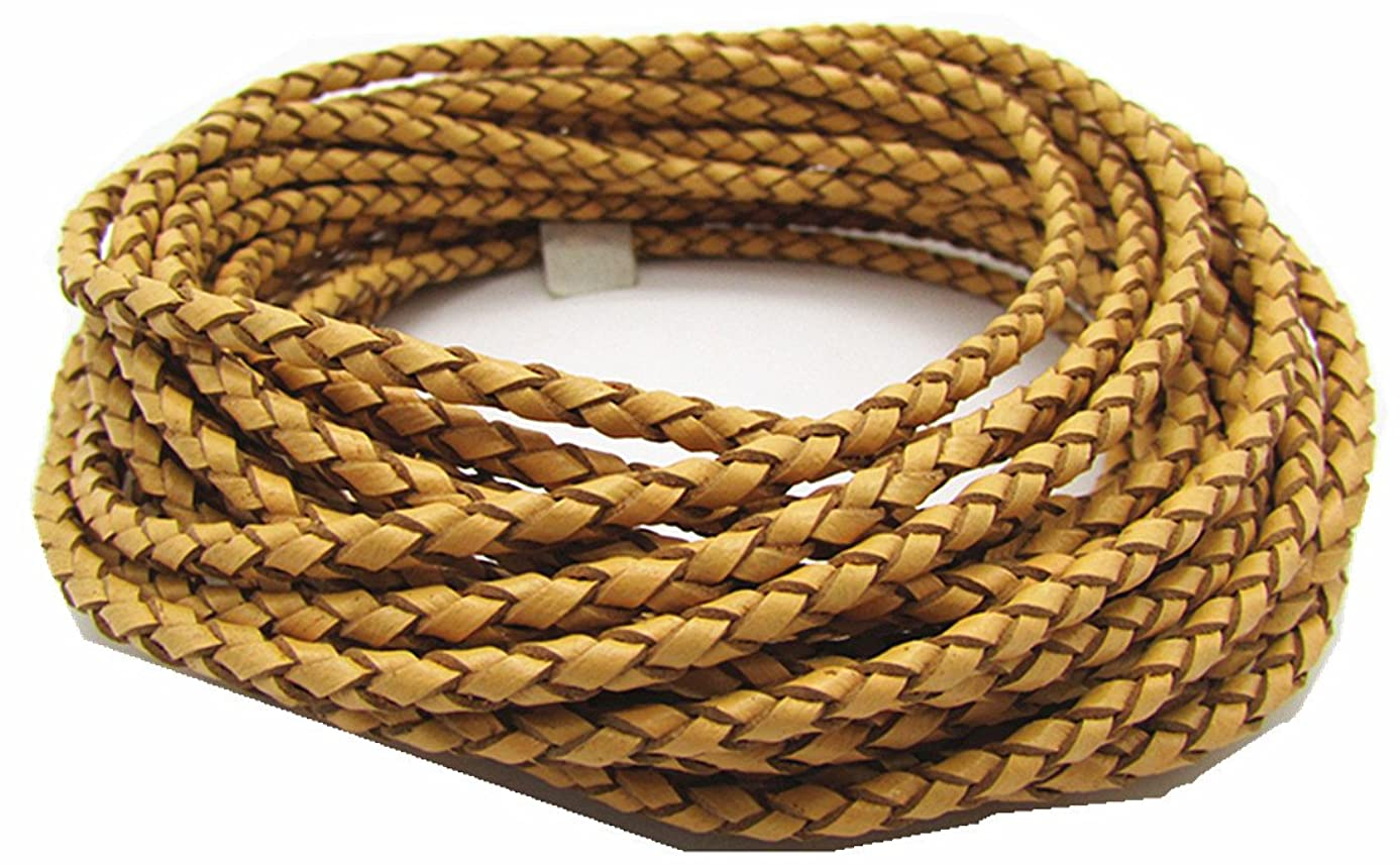 3.0mm Round Folded Bolo PU Braided Leather Cord for Necklace Bracelet Jewelry Making 5M (Yellow)