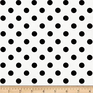 Fabric Liverpool Double Knit Polka Dot Black on Off White Fabric by the Yard