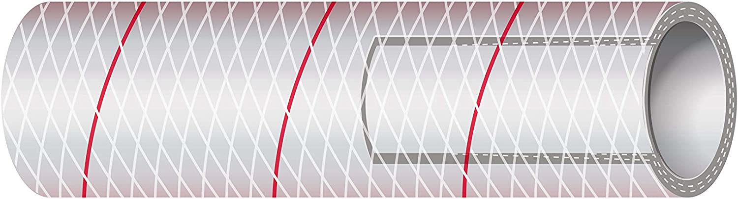 Sierra International All Clear PVC Tubing Polyester Reinforced (Red-Tracer) 1 2  x 10' 16-162-0123 All Clear PVC Tubing Polyester Reinforced (Red-Tracer) 1 2  x 10',
