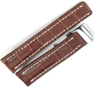 22mm/24mm Leather Strap Watch Band Deployment Clasp for Breitling Navitimer Transocean BA57 A193701 760P2