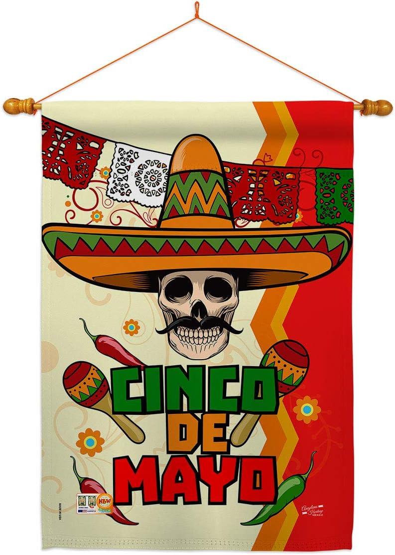 Angeleno Heritage Cinco de Mayo ラッピング無料 Calavera Su House Dowel Flag Set 無料サンプルOK