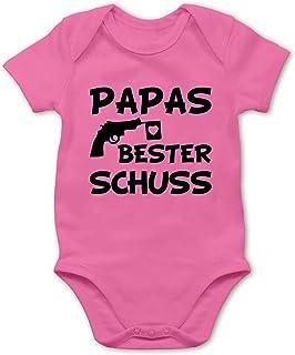 Shirtracer Vatertagsgeschenk Tochter & Sohn Baby - Papas Bester Treffer - Baby Body Kurzarm für Jungen und Mädchen