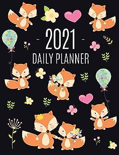 Red Fox Planner 2021: Funny Animal Planner Calendar Organizer - Artistic January - December 2021 Agenda Scheduler - Cute L...