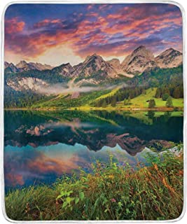 JOSENI Summer Sunrise On Vorderer Gosausee Lake in The Austrian Alp Mountains Super Soft Throw Blanket Bed Couch Lightweight All Season 50
