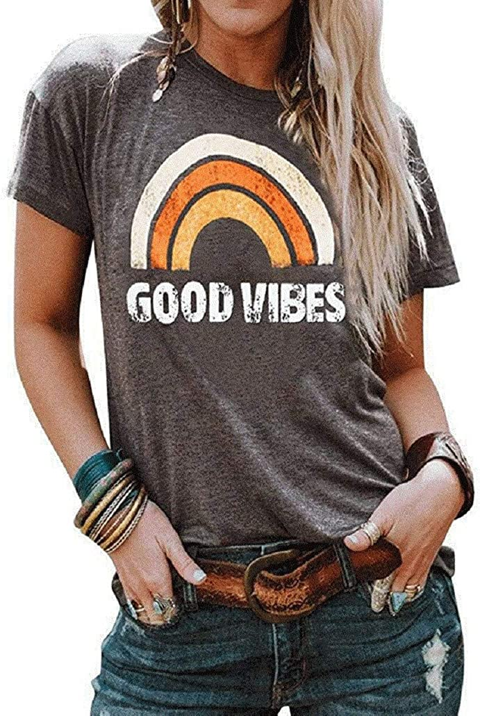 iNewbetter Womens T Shirt Long Sleeve Blouse Good Vibes Letter Print Cute Rainbow Graphic Tunic Tops