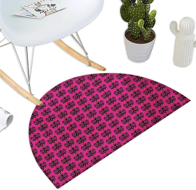 Hot Pink Semicircle Doormat Eastern Themed Ethnic Oriental Black Damask Design on a Hot Pink Backdrop Entry Door Mat H 43.3  xD 64.9  Black Hot Pink
