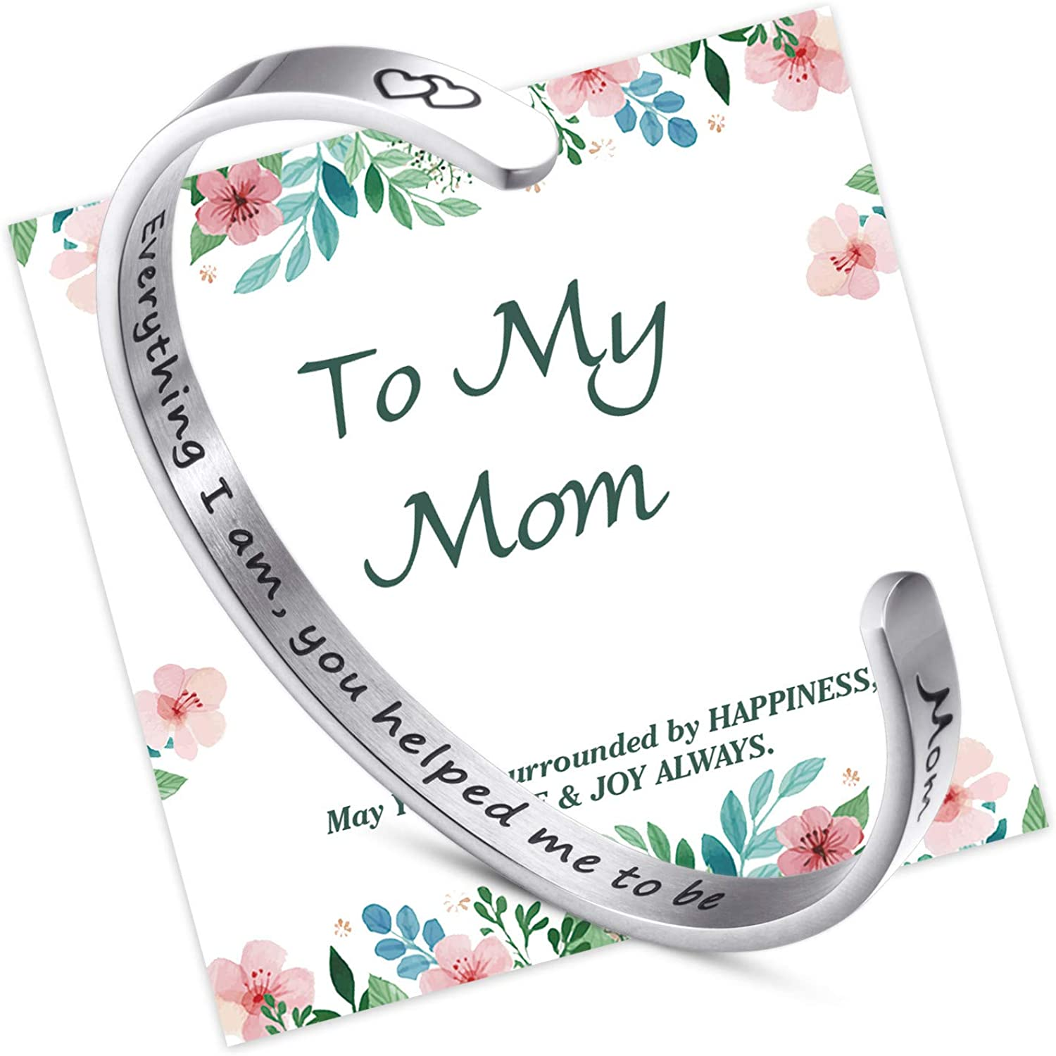 NEWNOVE Mother Daughter Bracelet Engraved Mantra Cuff Bangle Mother's Day Birthday Gift for Mom from Daughter