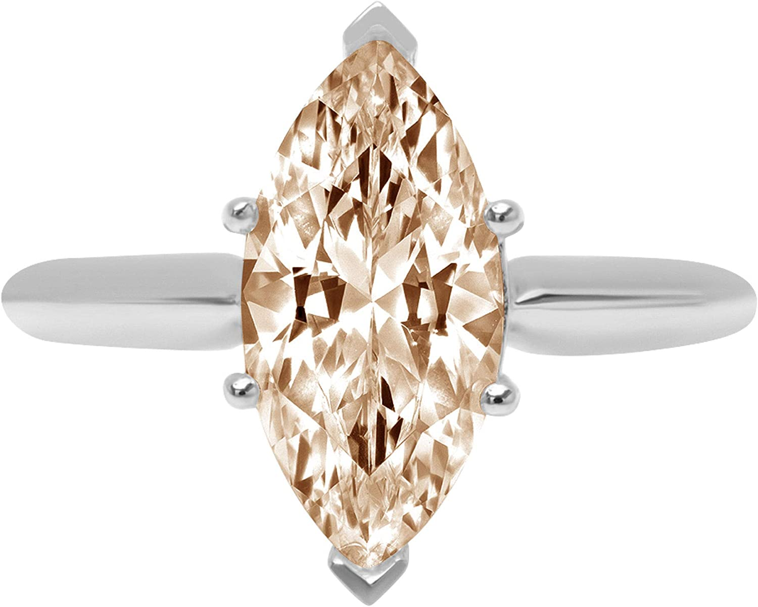 2.4ct Brilliant Marquise Cut Solitaire Brown Champagne Simulated Diamond Cubic Zirconia Ideal VVS1 D 6-Prong Engagement Wedding Bridal Promise Anniversary Ring Solid 14k White Gold for Women