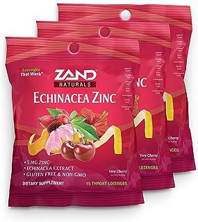 Zand HerbaLozenge Cherry Echinacea Zinc | Throat Lozenges | No Corn Syrup, No Cane Sugar, No Colors | 15 Lozenge, 3 Bags