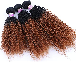 Synthetic Hair Weave Kinky Curly 3 Bundles, 16 18 20 Inches Mixed Two Tone Ombre Hair Extensions (T1/30#)