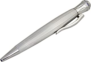 Xezo Ambassador Diamond-Cut and Rhodium Plated Twist Action Ball Point Pen with Fine-Cut Austrian Crystals, Weighty and Balanced, Limited Edition (Austrian Crystal B)