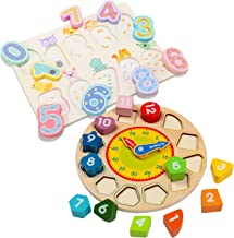 Wondertoys Todders Clock Toy Learning Time Number Puzzles Set Early Educational Game Great Gift for 3+ Years Old Boys and Girls