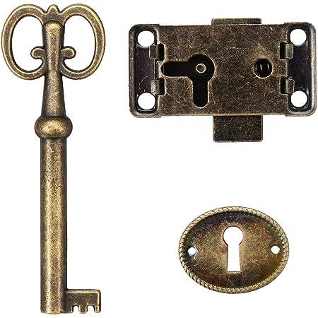 DOITOOL Serrure de porte de placard serrure de placard ancien serrure de meubles d/écoratifs avec cl/é et vis bronze rouge