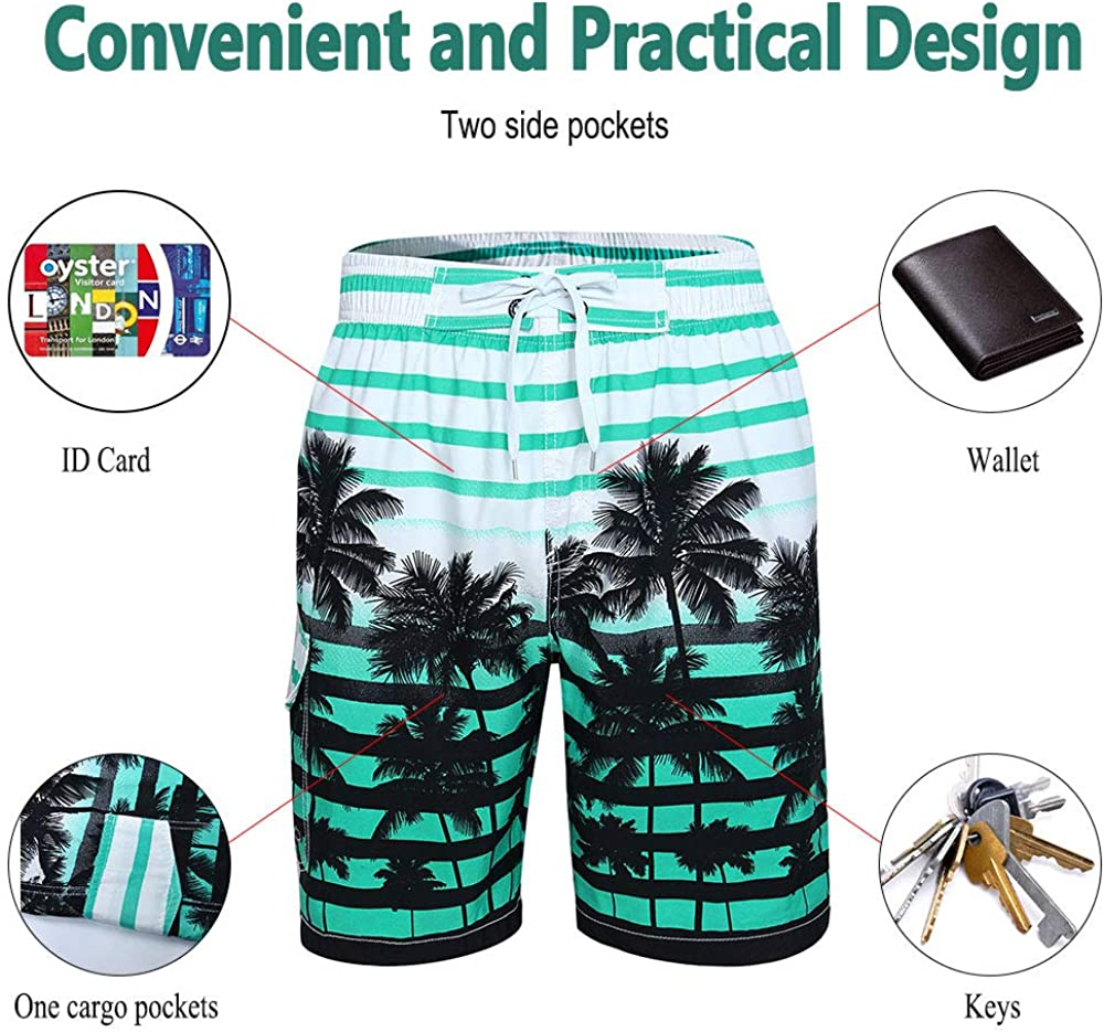 Colorful Printed Coconut Tree Long Swimming Trunks Cogild Mens Swim Trunks Quick Dry Board Shorts with Mesh Lining