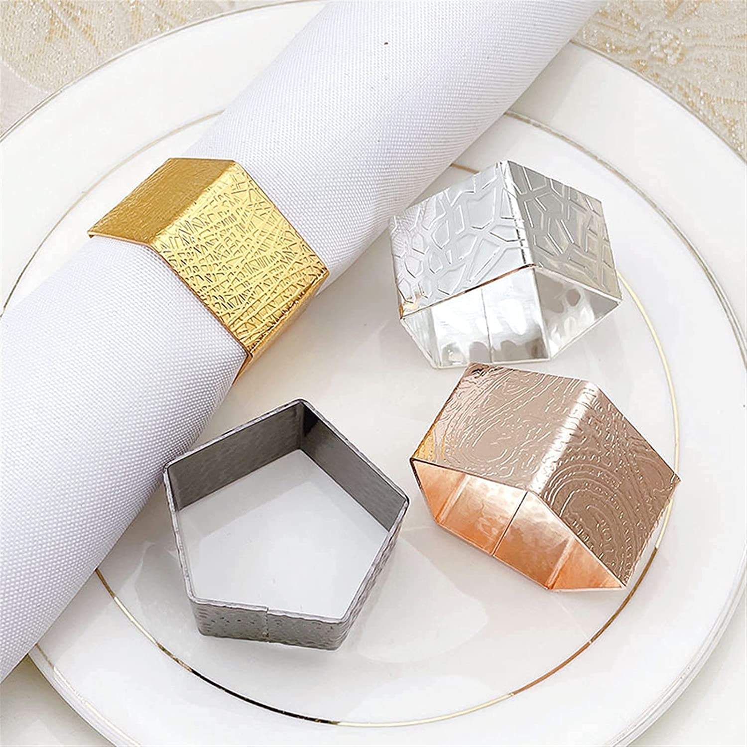 2021 spring and summer new JIAOXIAOHUI Louisville-Jefferson County Mall Creative Polygonal Napkin Ring Metal Nap