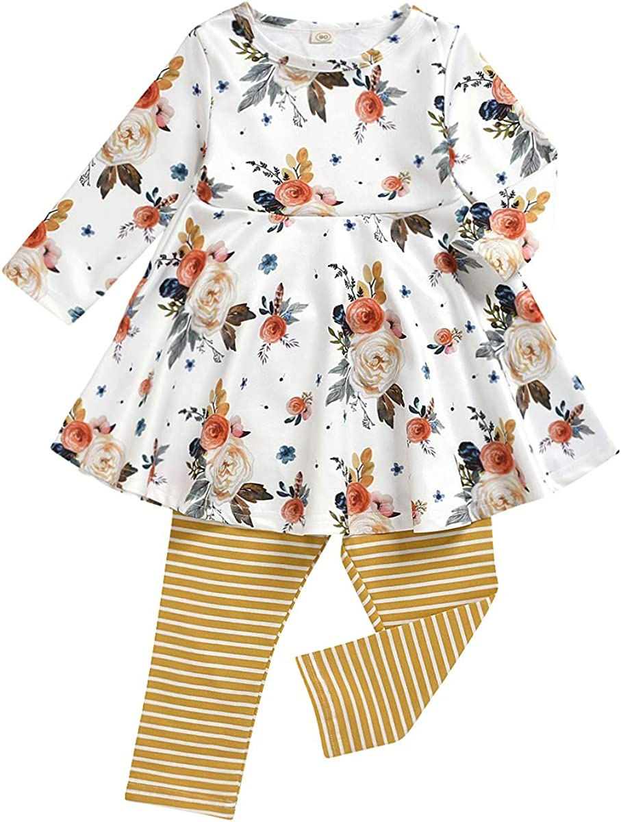 Toddler Girls Fall Clothes Set Little Girls Highlow Tunic Tops+Leggings Outfit Boutique Clothing Floral outfit Set…