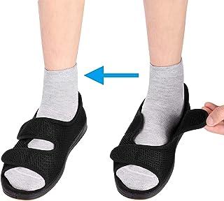 ITODA Femmes Chaussures pour Diabétiques Pantoufles Orthopédiques en Viscoélastique Bout Ouvert Elargissement Chaussons Ré...