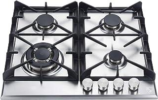 K&H® 4Z-KHSSW Plaque de cuisson à gaz 4 zones en acier inoxydable 58 cm