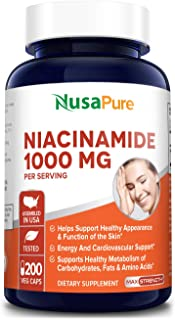 Niacinamide 1000mg 200 Veggie Capsules (Non-GMO & Gluten Free) Flush Free - Energy Booster, Cell Regenerator, That Support...