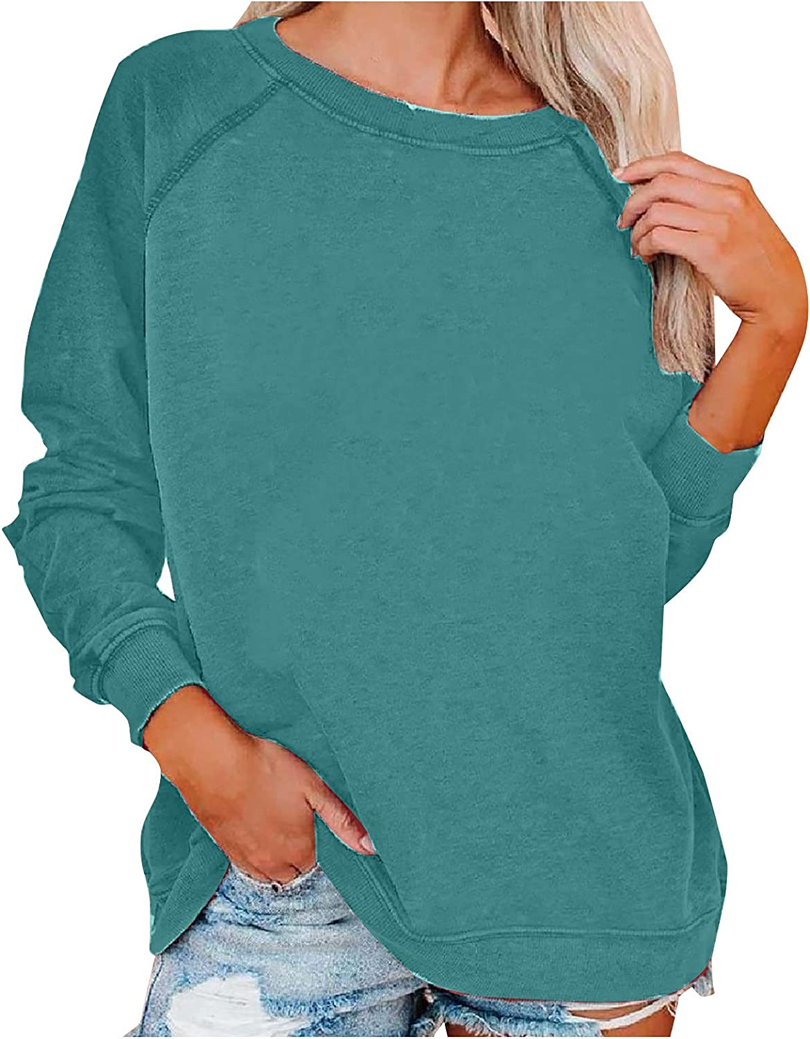 Women's Loose Fit Sweater Basic Fashion Casual Knitted Top Solid Color O-Neck Stitching Long Sleeve Pullovers Blouse