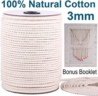 XKDOUS Macrame Cord 3mm x 220Yards | 100% Natural Macrame Rope | 3 Strand Twisted Cotton Cord for Wall Hanging, Plant Hangers, Crafts, Knitting, Decorative Projects | Soft Undyed Cotton Rope