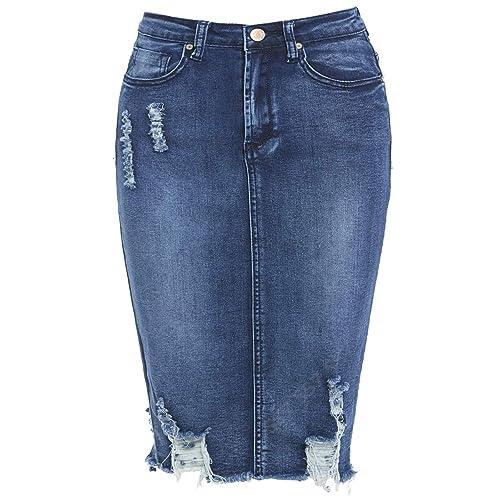 febb2d2e2 SS7 New Women's Denim Distressed Stretch Skirt, Sizes 6-14
