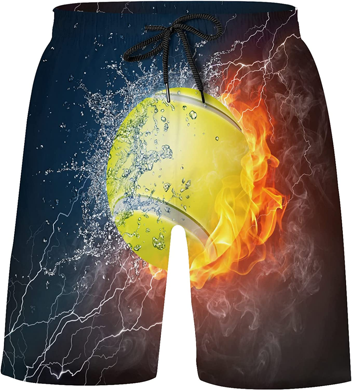 Tennis Ball in Fire and Water On Black Boys Quick Dry Beach Board Shorts Kids Swim T