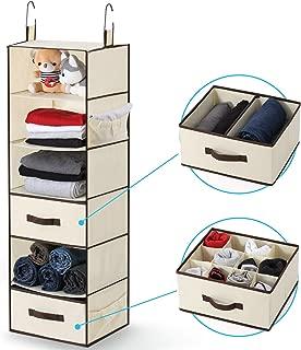 Hanging Closet Organizer Dresser Foldable Closet Hanging Shelves, 1Easylife Hanging Closet Storage Organizer 6-Tier Foldable Space Saver Cloth Hanging Shelf with 2 Removable Drawers, 2 Side Pockets