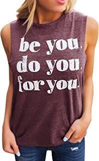 Imily Bela Womens Casual Plain Loose Fitting Basic Shirts Novelty Tank Tops Graphic Tee