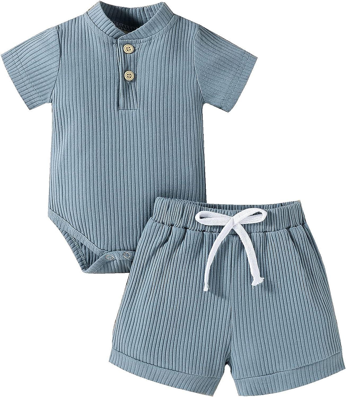 CETEPY Baby Boy Girl Clothes Infant Summer Solid Knit Ribbed Short Romper + Pants