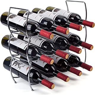 MOCREO Wine Rack, 3-Tier 12 Bottles Stackable Cabinet Wine Organizer Storage Rack for Pantry Holder, Metal