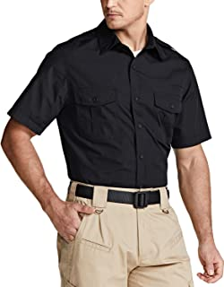 CQR Men's Short Sleeve Work Shirts, Ripstop Military Tactical Shirts, Outdoor UPF 50+ Breathable Button Down Hiking Shirt