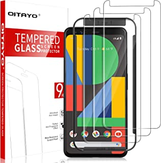 [3 Pack] QITAYO Screen Protector for Google Pixel 4, [Tempered Glass] [Scratch Resistant] [Alignment Frame] Google Pixel 4...
