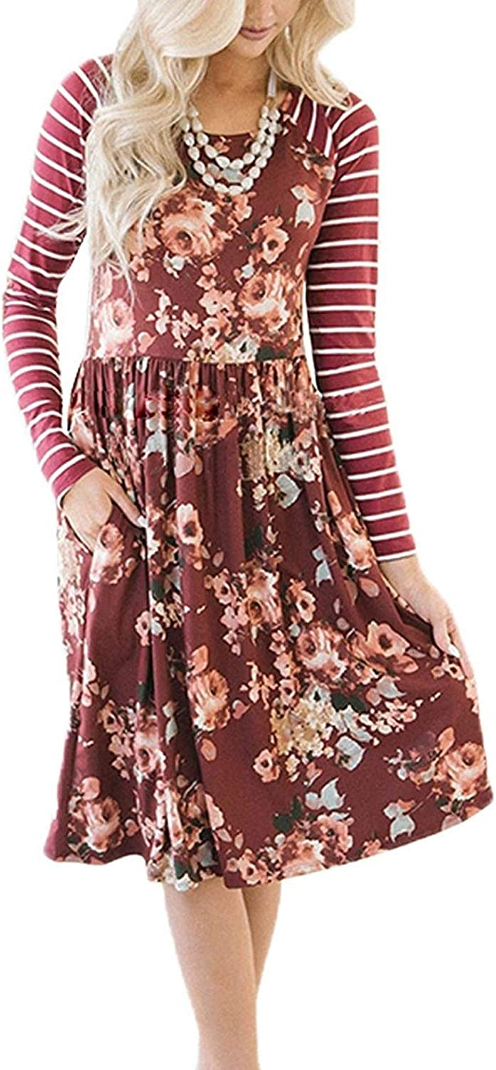 Chunoy Women's Long Sleeve Floral Pockets Casual Swing Pleated TShirt Dress with Pockets