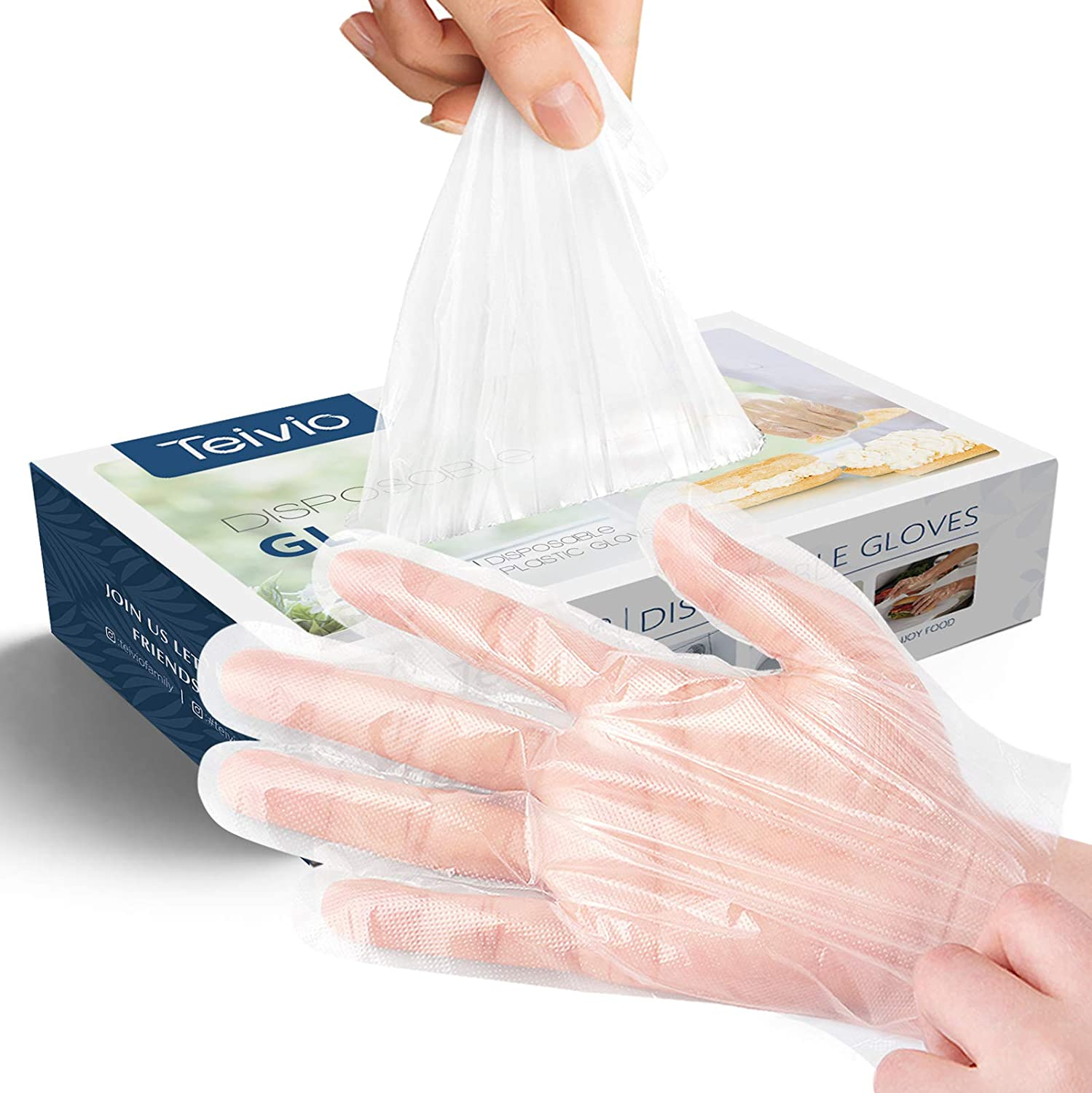 Disposable Gloves, 1000 Pcs Plastic Gloves for Kitchen Cooking C