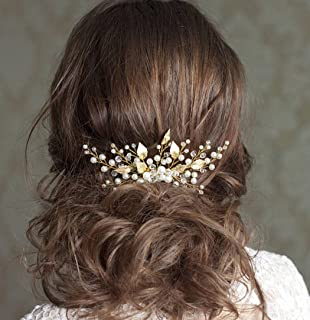 Jovono Bride Wedding Hair Combs Leaf Hair Accessory Pearl Headpiece with Rhinestone for Women and Girls (Gold)