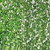12 Strands 84Ft Artificial Ivy Garland Fake Leaf Plants Hanging Vine UV Resistant Green Leaves for Home Kitchen Garden Office Wedding Wall Décor