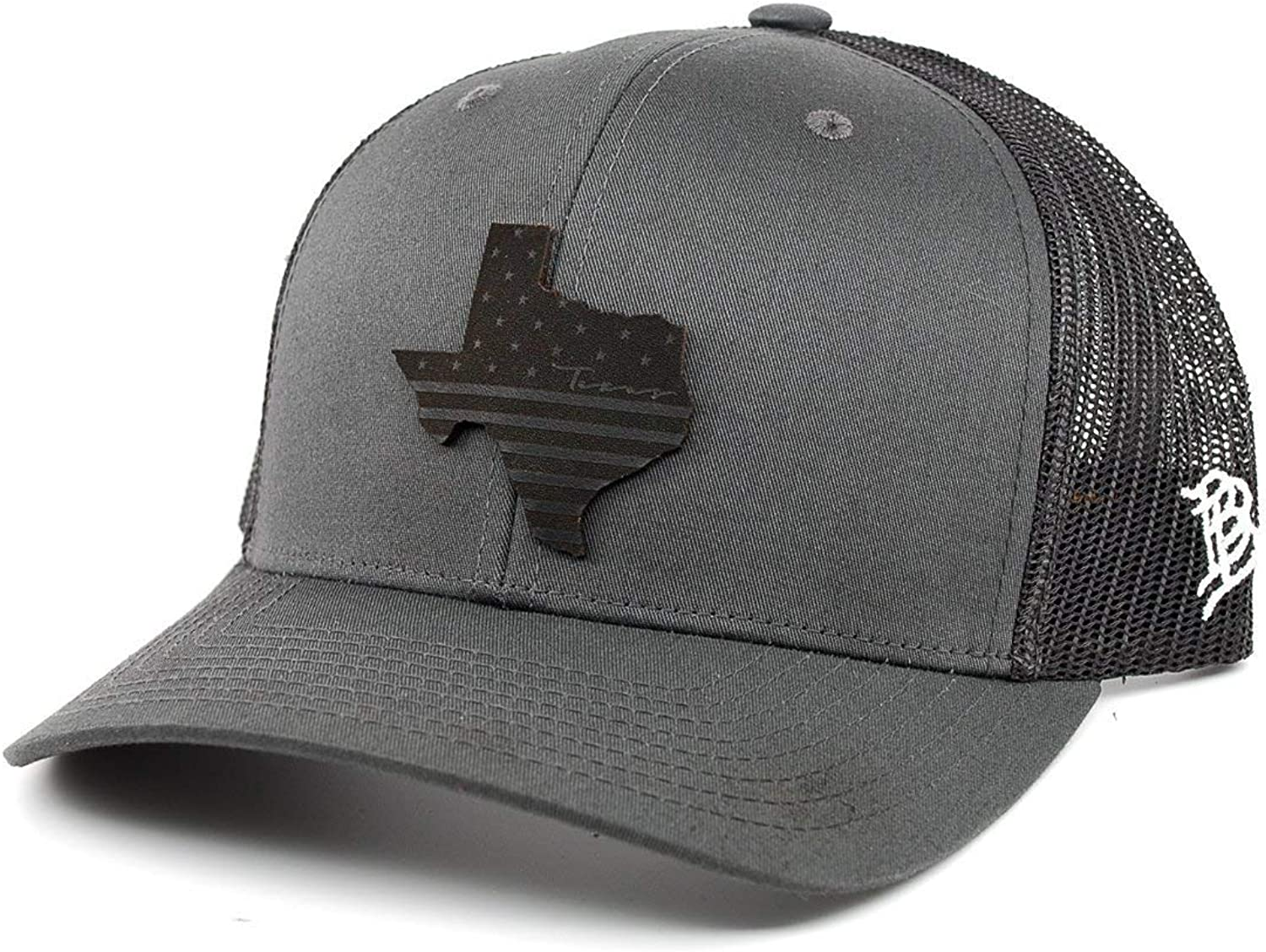 Branded Bills 'Midnight Texas Patriot' Black Leather Patch Hat Curved Trucker