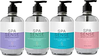 Spa Sense Apothecary Hand Soap Collection, 18 OZ, Infused with Natural Essential Oil, Revitalizing Rosemary Mint, Clarifying Tea Tree, Refreshing Eucalyptus, Relaxing Lavender Scent, Gift Set of 4