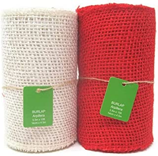 Red and White Burlap Fabric 5.5