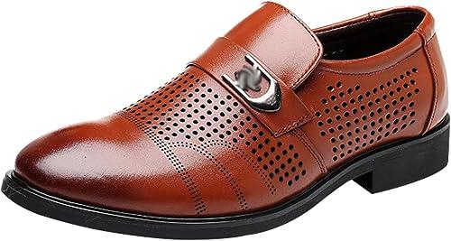 MYXUA Herren Sommer Sandalen Business Casual Schuhe Spitze Derby Schuhe Mode Hohl