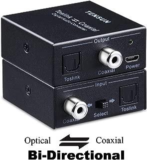 Tensun Optical to Coaxial Digital Audio Out Converter, Bi-Directional Coax Coaxial to Toslink SPDIF Optical Adapter Repeater 24bit/192K HD Sampling (Optical-to-coaxial and Coaxial-to-Optical)