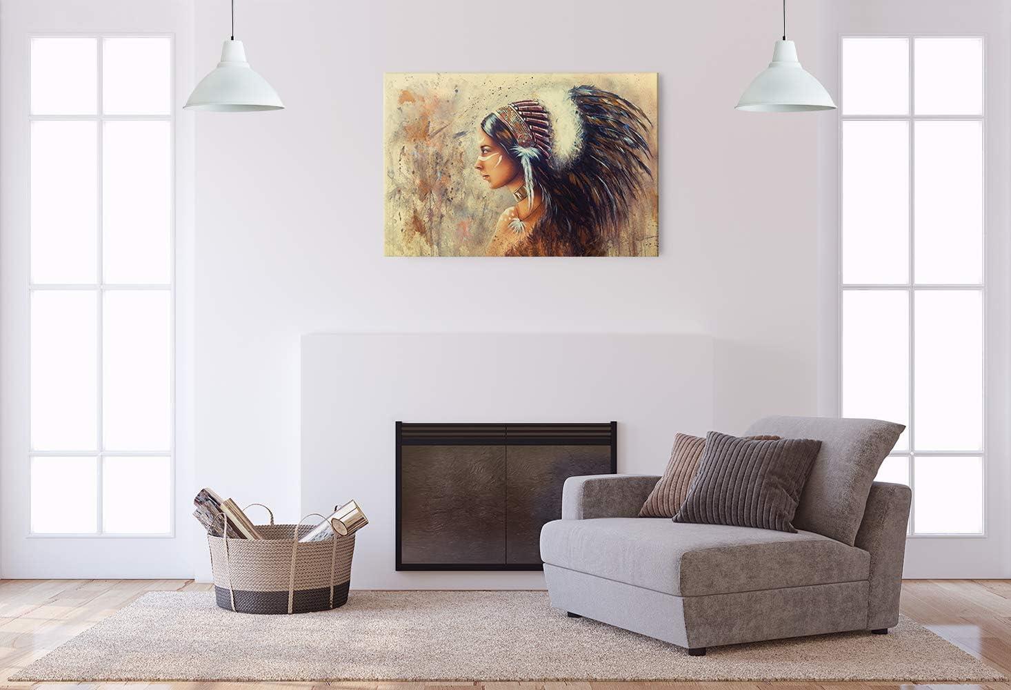 Malerei Frau Untertitel Blau lila Revolio 40x30 cm Leinwandbild Wandbilder Wohnzimmer Modern Kunstdruck Design Wanddekoration Deko Bild auf Leinwand Bilder 1 Teilig