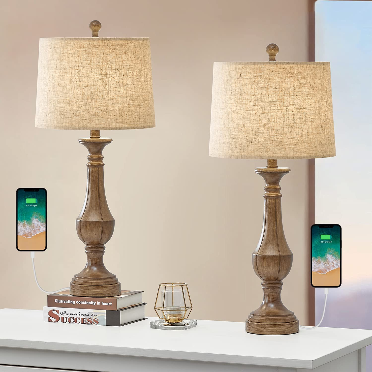 PoKat 27.75'' USB NEW Farmhouse Table Lamp for Living of Room Sets 2 Max 56% OFF