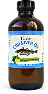 Virgin Cod Liver Oil - Natural, Wild Caught & Fresh Tasting (Lemon and Peppermint Flavored)
