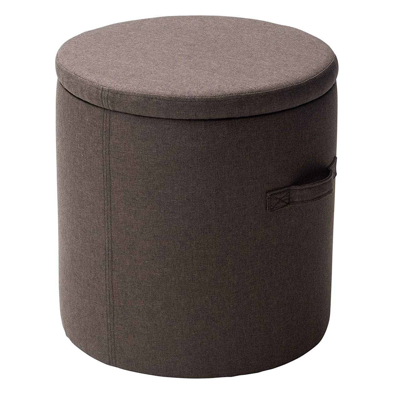 器官森付属品サンワダイレクト 収納スツール 直径41.5cm×高さ43.5cm 椅子 耐荷重80kg 約42L 持ち手付き 軽量4.6kg 足置き ブラウン 150-SNCBOX11BR