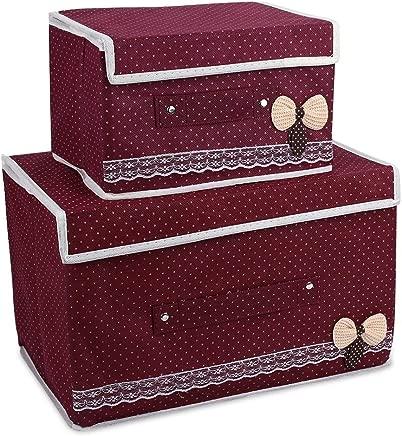 Hanbaili Basket Bag Folding Storage Box with 2Pcs Set Non-Woven Fabrics Office Large Capacity